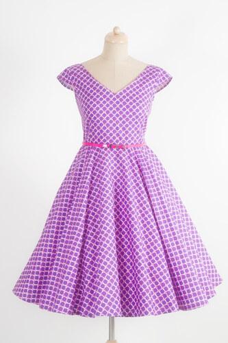MiaBella LOREN retro šaty fialové vzorované Barva  Barva jako na obrázku 66df6b703c