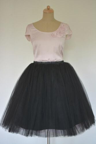 Dovoz Dámská šifonová TUTU sukně černá Délka sukně  nad kolená - 50 ... 59118b8df6