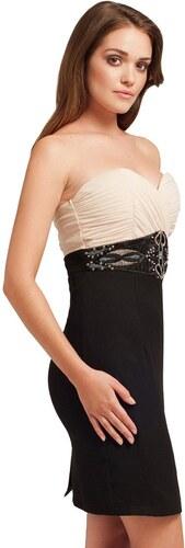Černé úzké šaty Little Mistress s krémovým vrškem - Glami.cz 97b968513c