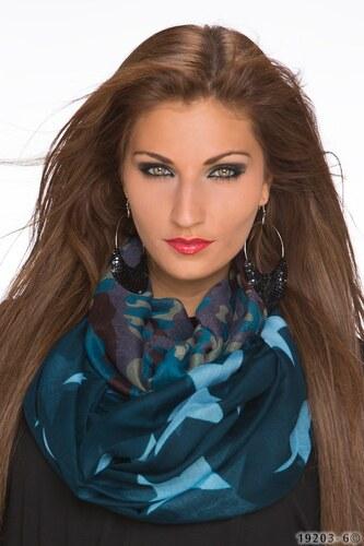 Dámský vzorovaný šátek - tmavě zelený