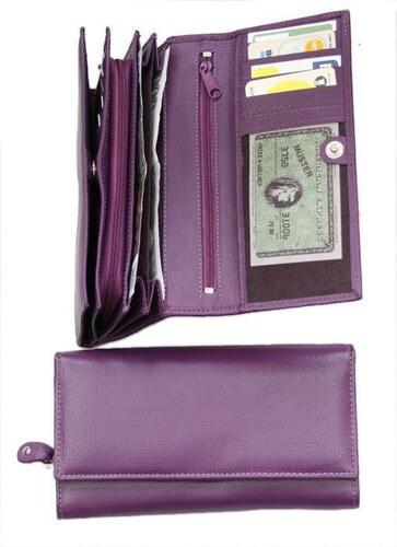 Fialová kožená peněženka