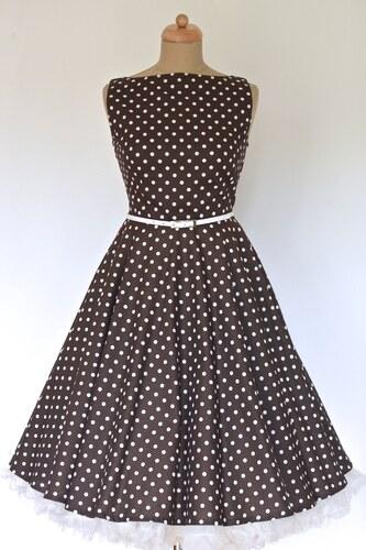 93e5d9e29fd6 MiaBella SUSAN retro šaty hnědé s bílým puntíkem Barva  Barva jako na  obrázku