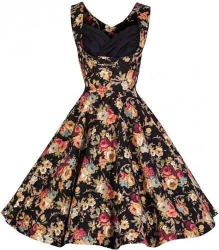 OPHELIA květinová černá - swingové retro šaty inspirované padesátými léty 07ec4dbc74
