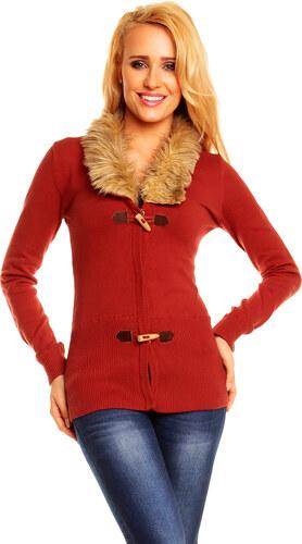 Moderní dámský úpletový svetr Rock Angel - červený