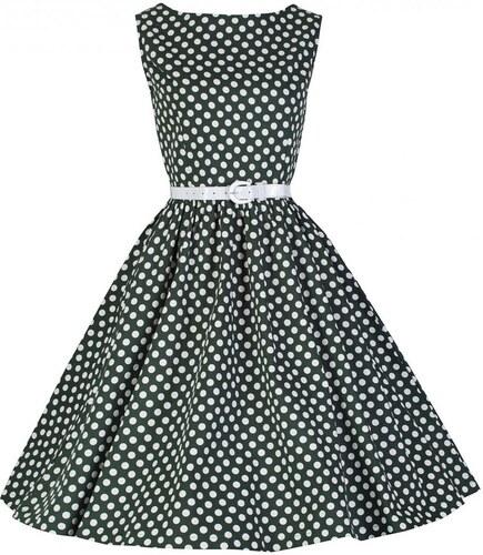 9df18d8c56df AUDREY zelené puntíkaté šaty ve stylu padesátých let - Glami.cz
