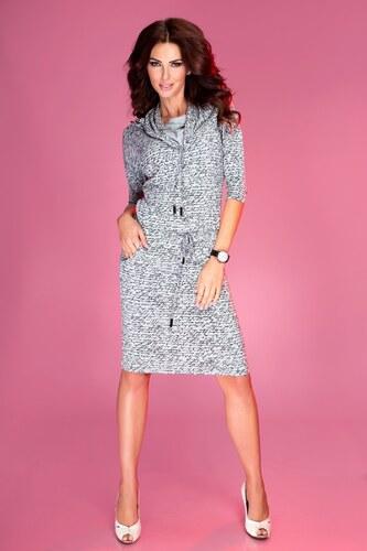 Dámské šaty s nápisy Shop a Fashion - šedé