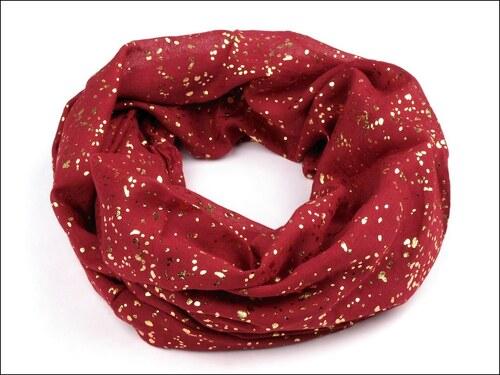 Kruhový bordó šátek se zlatým potiskem