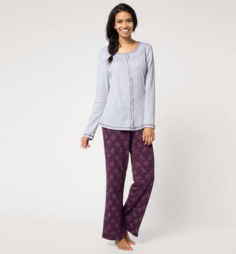 c a damen pyjama zum kn pfen in hellgrau von lingerie. Black Bedroom Furniture Sets. Home Design Ideas