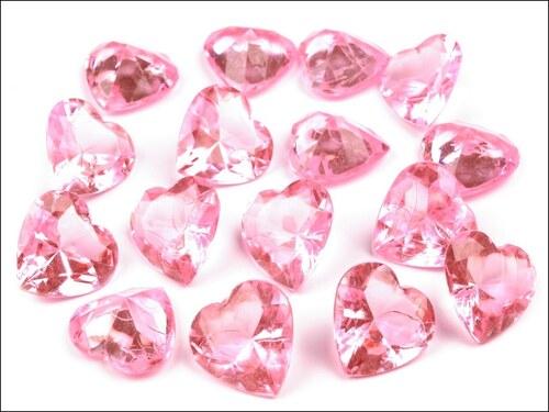 Broušené kamínky růžové srdce