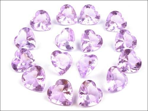 Broušené kamínky fialové srdce