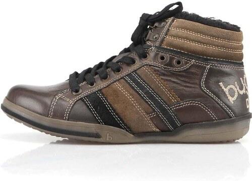 12ffb857d89 Hnědé pánské kožené boty s kožíškem bugatti King Nappa - Glami.cz