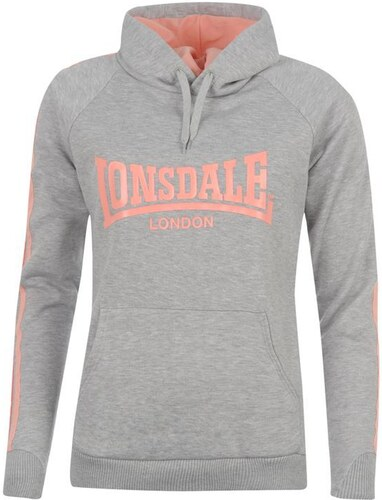 69d9384b271 mikina Lonsdale 2 Stripes Over The Head Hoody dámská Lt Grey M Peach 18 (