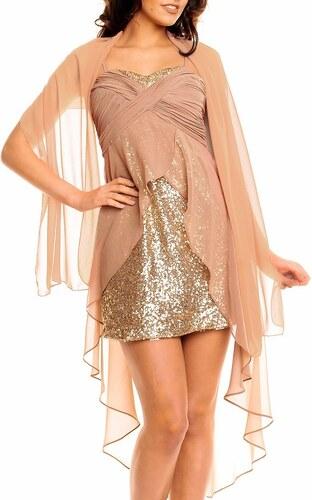 Made in Italy Luxusní plesové šaty zlaté hnědé s přehozem - Glami.cz 46a7aa3fc8