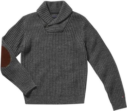 6859ed6aa2f Tommy Hilfiger Luxusní pánský svetr TOMMY HILFIGER s koženými nášivkami