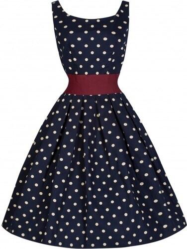LANA tmavomodré puntíkované šaty ve stylu padesátých let - Retro Šaty 670d218747