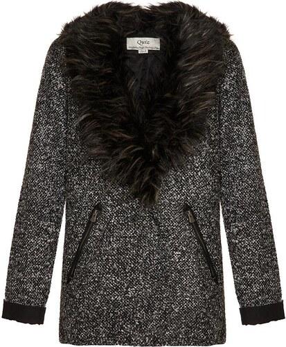QUIZ LONDON Sivý kabátik s kožušinovým golierom - Glami.sk 311a05056a2