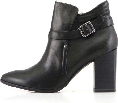 Černé dámské kožené boty na širším podpatku Tamaris - Glami.cz c01250f453