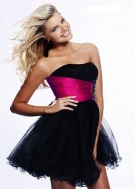 Ever Pretty Victoria luxusní společenské krátké růžovo-černé šaty XS ... 55e6ba0652