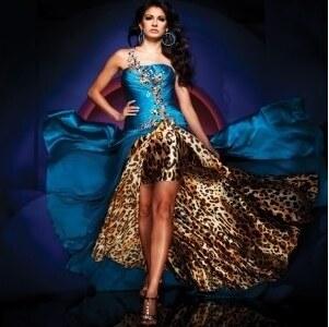 e21db00e240 AKCE plesové společenské modré šaty s leopardím vzorem S-M - Glami.cz