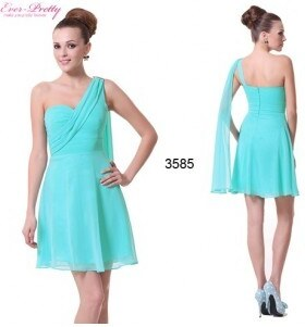Ever Pretty modré tyrkysové krátké společenské šaty na jedno rameno Scoty XS 8364bfb7f9