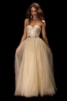 luxusní champagne plesové nebo svatební společenské šaty Cher S-M ... b5bd8623246