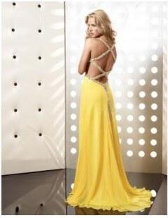 sexy žluté plesové společenské šaty s otevřenými zády Claudia XS-S ... 8f558795c7