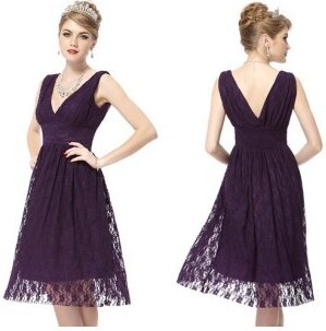krátké krajkové tmavě fialové společenské šaty M - Glami.cz 087ef69140