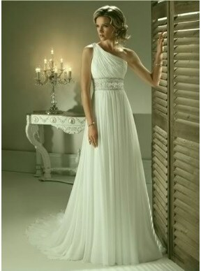antické svatební šaty na jedno rameno bílé M-L - Glami.cz 2f8c3d6e08