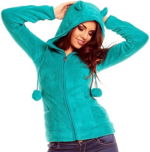 SUBLEVEL Sublevel dámská zelená fleece mikina s kapucí s ušima ... 033f5f76ac
