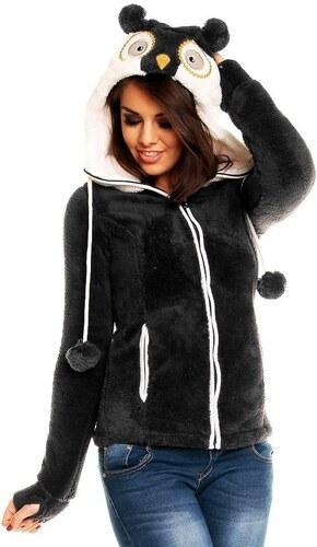 Sublevel dámská tmavě šedá fleece mikina SOVA s kapucí s ušima ... e4b60e0e8d
