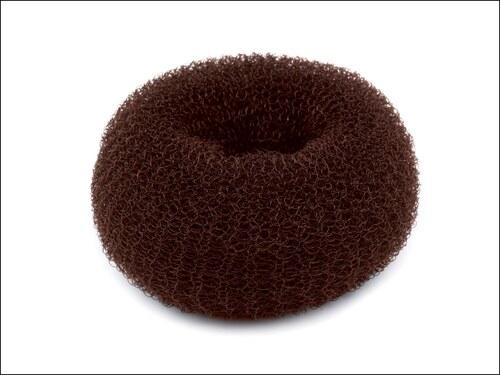 Pevná hnědá drátěnka (donut) do drdolu Ø 6 cm