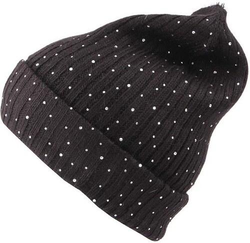 Černá dámská pletená čepice s blýskavými kamínky INVUU London - Glami.cz 8f90bd0398