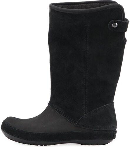 4047a23f201 Černé dámské semišové vysoké boty Crocs Berryessa - Glami.cz
