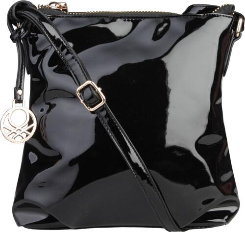 Elegantní lesklá taška přes rameno Benetton   Gaudi - černá univerzální 520a8fd3252