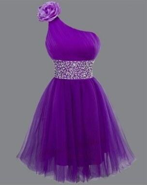 Sofia krátké fialové společenské šaty na jedno rameno S-M - Glami.cz e3d9ab980f