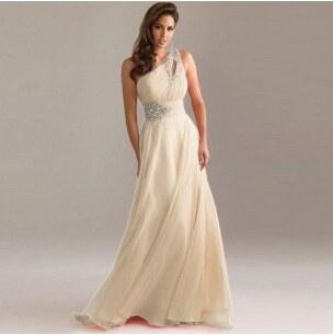 dlouhé champagne svatební antické společenské plesové šaty na jedno rameno  Donna XXL-XXXL XXL- 008309a093b