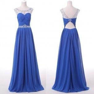 0d720c1c05f luxusní modré plesové šaty na maturitní ples Valencia XS - Glami.cz