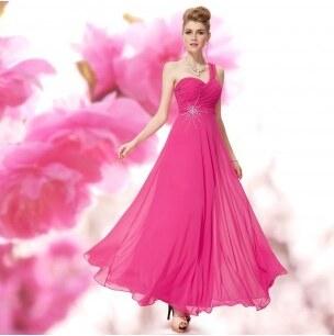 82a7e86ec5d4 zářivě růžové společenské šaty antické na jedno rameno Trinity S ...