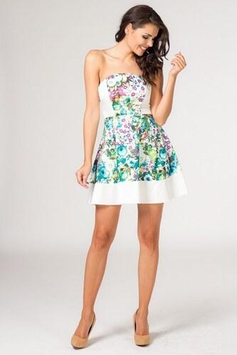 Květinové letní šaty bez ramínek 30845 Angelika - bílé se vzorem - Velikost  S ea3ea3e5b6
