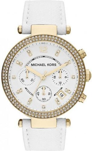 77e5b991baf Dámské hodinky s bílým koženým páskem Michael Kors - Glami.cz