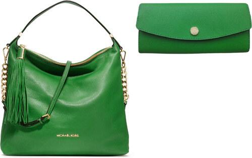 c5e3d40ca5 Set MK - Luxusní kožená zelená kabelka a peněženka Michael Kors ...