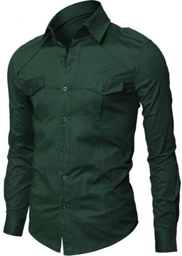 a6fe86bf445 Dablju  Pánská košile ležérní zelená slim CJL-GREEN - Glami.cz