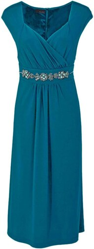 4b9fe01eab8 Společenské šaty pro plnoštíhlé v barvě petrolejové M.I.M. (sklad v ...