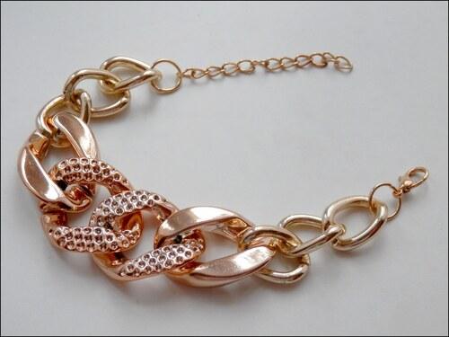 Vroubkovaný zlatý řetězový náramek