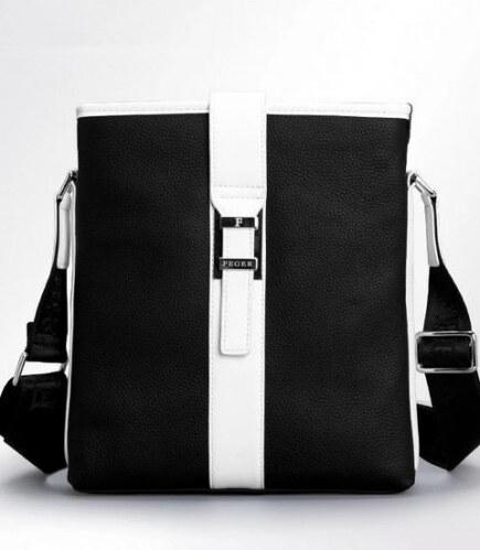 Pánská taška Messer černá pravá kůže - černá