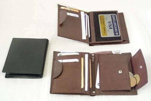 hnědá pánská kožená peněženka a dokladovka se zápinkou