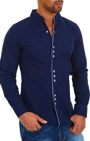 Pánská modrá slim košile se stojáčkem CARISMA - Glami.cz f6d8e2de7c