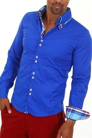 Pánská sytě modrá košile CARISMA H-110 dlouhý rukáv slim fit - Glami.cz f20fd3efb2