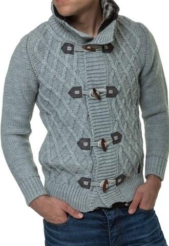 Pánský pletený svetr CARISMA na knoflíky   7169-Grey - Glami.cz 05ef2cafe0