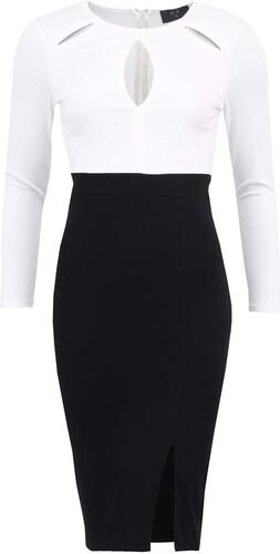 Bílo-černé šaty s dlouhým rukávem AX Paris - Glami.cz 1c0d4f21f6
